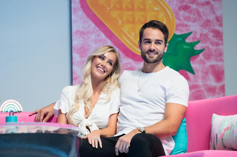LONDON, ENGLAND - AUGUST 10: Laura Anderson and Paul Knops during the 'Love Island Live' photocall at ICC Auditorium on August 10, 2018 in London, England. (Photo by Samir Hussein/WireImage)