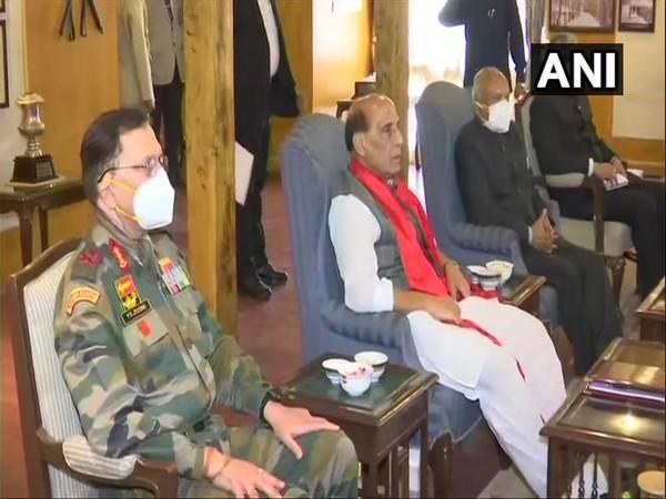 Defence Minister Rajnath Singh during meeting with elected representatives of LAHDC.