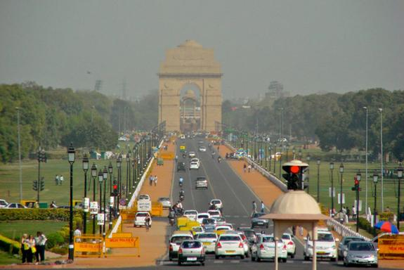View of India Gate through the smog on a past trip to Delhi, March 2012.