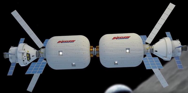 An illustration of Bigelow Aerospace's expandable spacecraft.