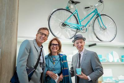 British Milliner Stephen Jones OBE (right) with Rose Marie Bravo, Vice Chairman of Burberry and Mark Bozek, film director pictured in Tiffany's Blue Box Cafe on 5th Avenue in Manhattan, New York City the day before Cunard's 2019 Queen Mary 2 Transatlantic Fashion Week at Sea