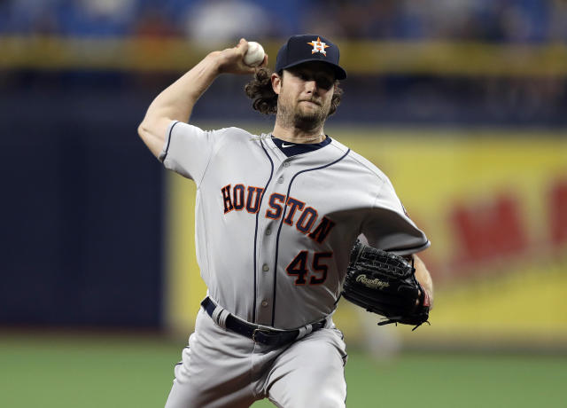 Houston Astros' Gerrit Cole pitches to the Tampa Bay Rays during the first inning of a baseball game Friday, March 29, 2019, in St. Petersburg, Fla. (AP Photo/Chris O'Meara)