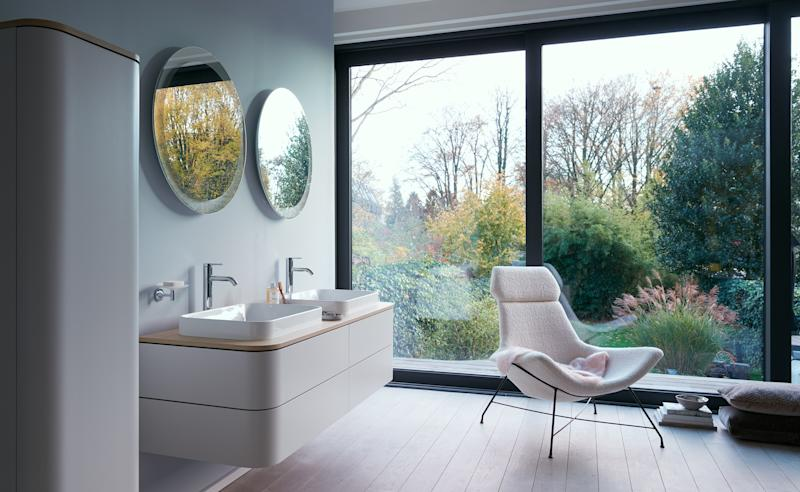 Technology hides out at home. While tech will seep into more corners of our homes, smart appliances will allow it to recede into the background (where it belongs). Less beeping and flashing will mean more efficiency and a greater sense of calm and well-being. Duravit's Happy D.2 Plus mirrors, for example, are dimmable and conveniently self-defog; more importantly, ambient lights adjust to the time of day, matching the user's circadian rhythm and improving sleep and wakefulness.