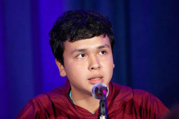 PHOTO: Carl Smith, 17, from Akiak, Alaska, speaks at a press conference announcing a collective action being taken on behalf of young people everywhere facing the impacts of the climate crisis at UNICEF House in New York, Sept. 23, 2019. (Radhika Chalasani/UNICEF)