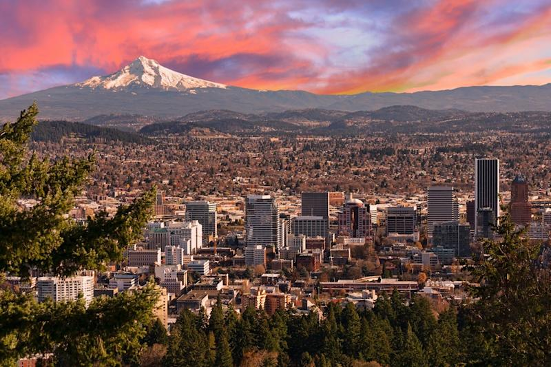 Sunrise View of Portland, Oregon from Pittock Mansion.