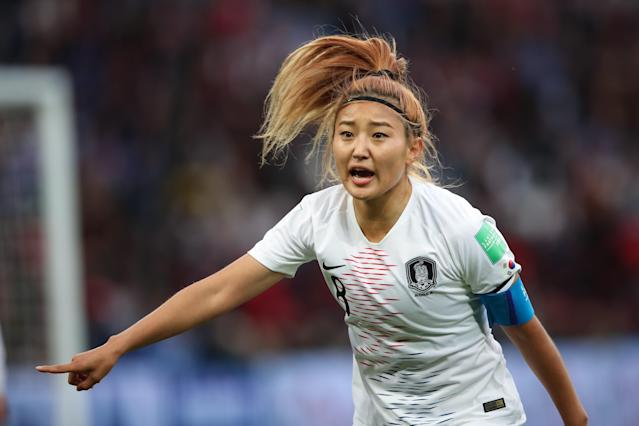 Cho Sohyun of Korea Republic during the 2019 FIFA Women's World Cup France group A match between France and Korea Republic at Parc des Princes on June 7, 2019 in Paris, France. (Photo by Molly Darlington - AMA/Getty Images)