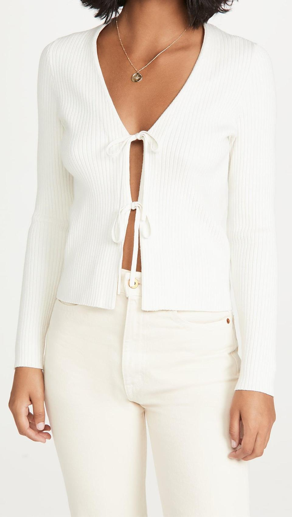 <p>This <span>Madewell Jillian Tie Cardigan</span> ($90) is a sexy choice for date night.</p>