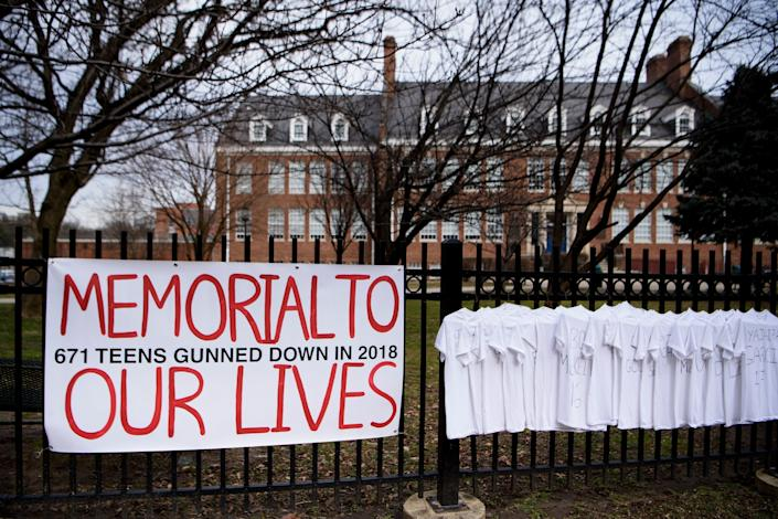 In front of Bethesda-Chevy Chase High School, Bethesda, Md., Feb. 14, 2019. (Photo: Brendan Smialowski/AFP/Getty Images)