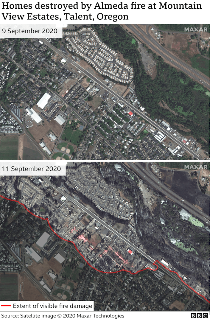 Before and after image showing fire damage in Talent, Oregon