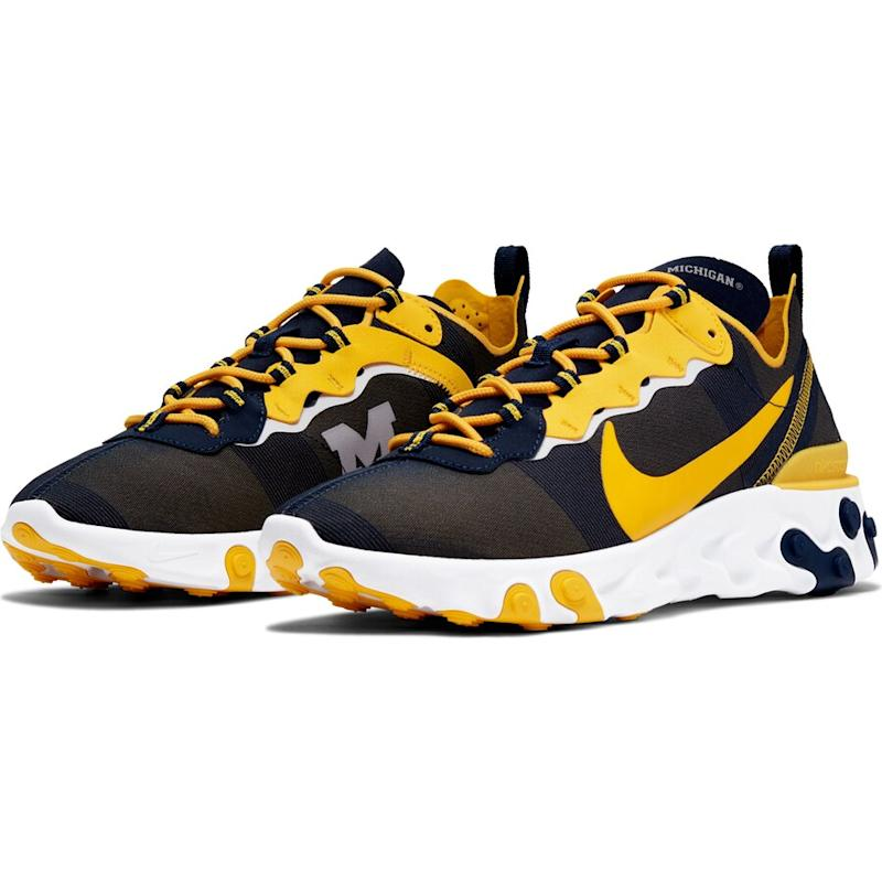 Michigan Wolverines React Element 55 Sneakers