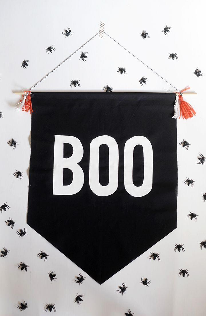 """<p>Shh, here's the secret to perfectly painted letters: freezer paper. The hardest part, however, will be picking the word or phrase — """"boo"""" is easiest, though.<br></p><p><em><a href=""""https://www.aliceandlois.com/diy-no-sew-halloween-boo-banner/"""" rel=""""nofollow noopener"""" target=""""_blank"""" data-ylk=""""slk:Get the tutorial at Alice & Lois »"""" class=""""link rapid-noclick-resp"""">Get the tutorial at Alice & Lois »</a></em> </p>"""