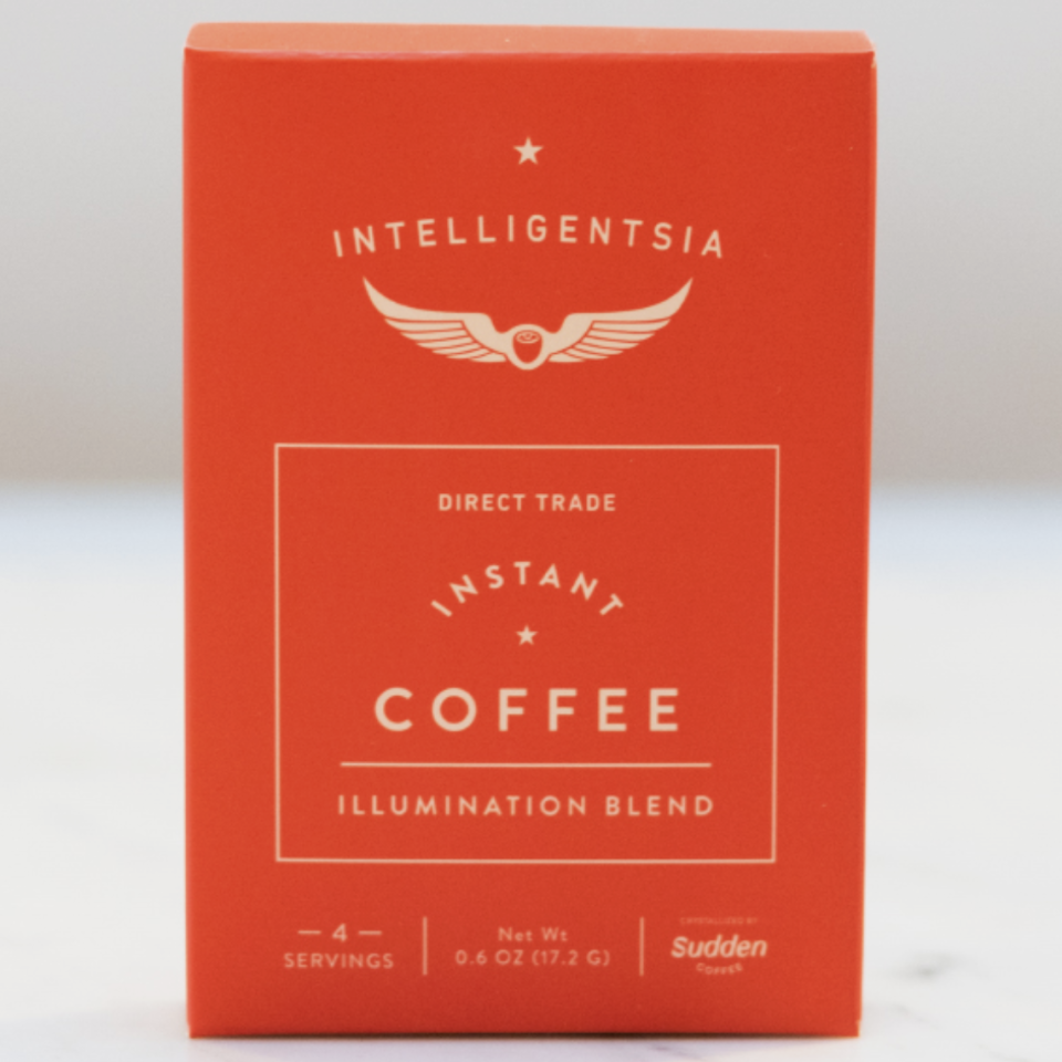 """<p><strong>Intelligentsia</strong></p><p>intelligentsiacoffee.com</p><p><strong>$13.00</strong></p><p><a href=""""https://www.intelligentsiacoffee.com/sudden-coffee-intelligentsia"""" rel=""""nofollow noopener"""" target=""""_blank"""" data-ylk=""""slk:Shop Now"""" class=""""link rapid-noclick-resp"""">Shop Now</a></p><p>Tasters loved the full-bodied and citrusy character of this instant coffee blend, and hints of coconut and fresh berries left us savoring every sip. Be sure to take some time to enjoy this option— one serving costs more than your average latte. But we think a little extra caffeine TLC is worth it if you're traveling or camping where there's not a coffee shop in sight. </p>"""