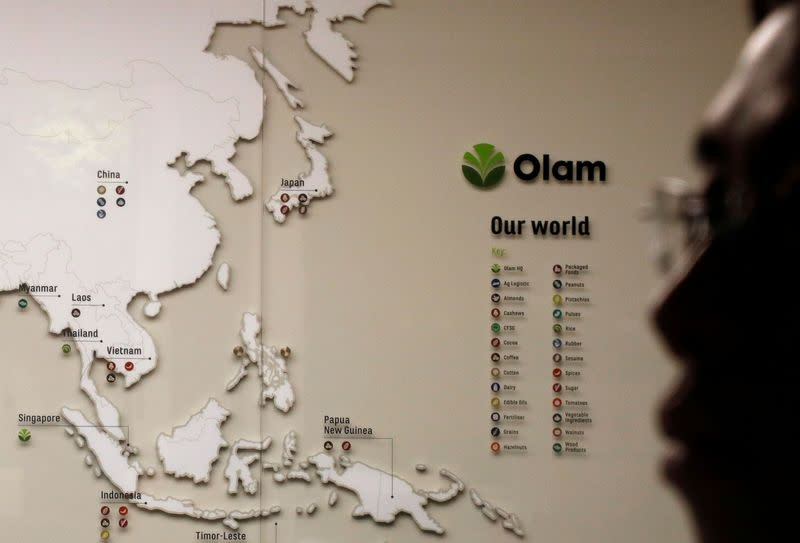 A map showing Olam's operations in Asia is pictured in their office meeting room in Singapore