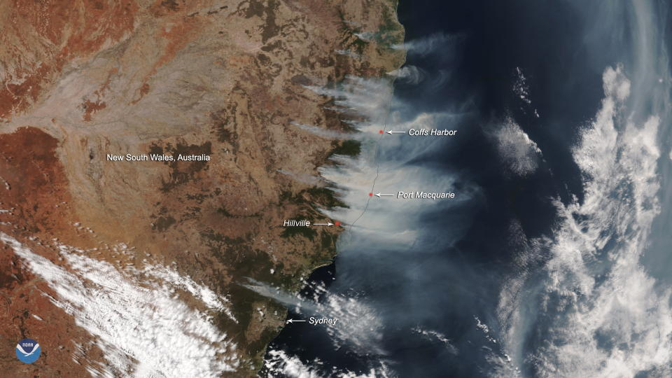 Pictured are the bushfires from a satellite. Source: NASA
