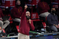 Cleveland Cavaliers' John-Blair Bickerstaff calls out to his team during the second half of an NBA basketball game against the Brooklyn Nets Sunday, May 16, 2021, in New York. (AP Photo/Frank Franklin II)