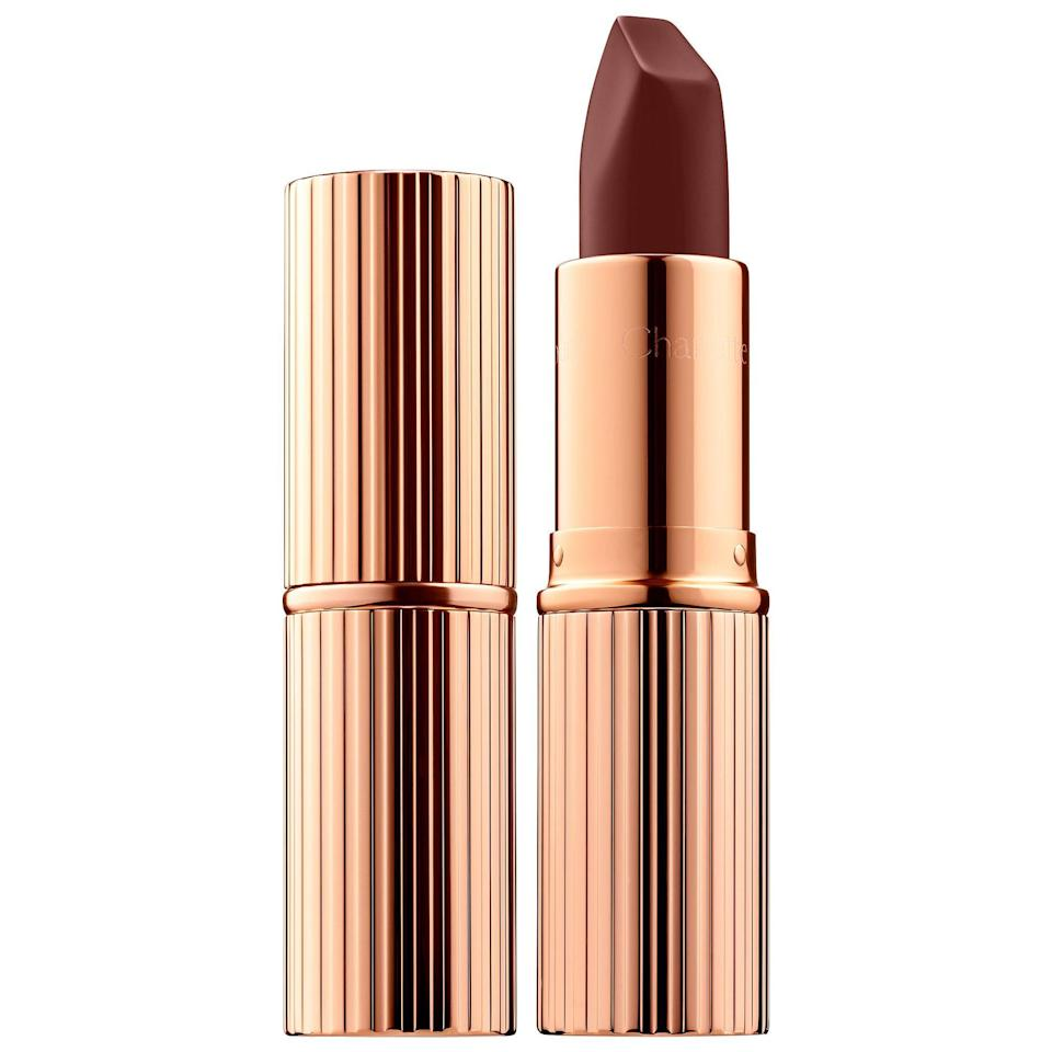 """<p><strong>Charlotte Tilbury</strong></p><p>sephora.com</p><p><strong>$34.00</strong></p><p><a href=""""https://go.redirectingat.com?id=74968X1596630&url=https%3A%2F%2Fwww.sephora.com%2Fproduct%2Fmatte-revolution-lipstick-P433530&sref=https%3A%2F%2Fwww.womenshealthmag.com%2Fbeauty%2Fg32981827%2Fbest-matte-lipstick%2F"""" rel=""""nofollow noopener"""" target=""""_blank"""" data-ylk=""""slk:Shop Now"""" class=""""link rapid-noclick-resp"""">Shop Now</a></p><p>If there's anyone who can master the matte lipstick, it's legendary makeup artist Charlotte Tilbury. This formula feels petal-soft on the lips and its smart rectangular-tipped design lets you apply with precision (no liner required).</p>"""