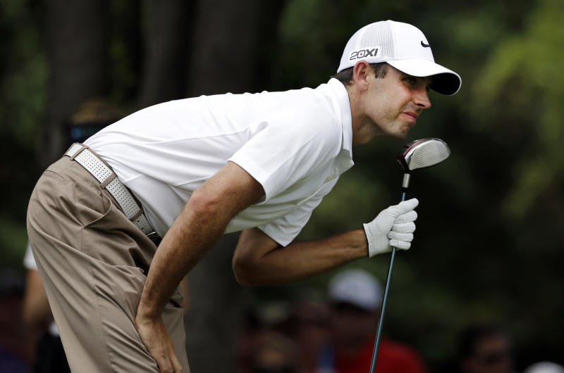 Charl Schwartzel of South Africa, watches his shot off the first tee during the second round of the Byron Nelson Championship golf tournament Friday, May 17, 2013, in Irving, Texas. (AP Photo/Tony Gutierrez)