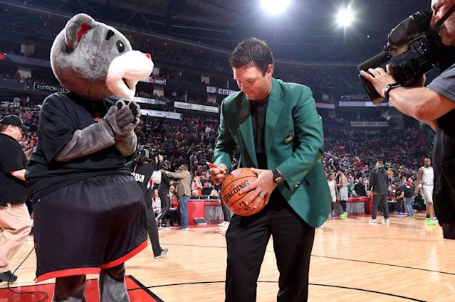 Patrick Reed at the Rockets game. (Getty)