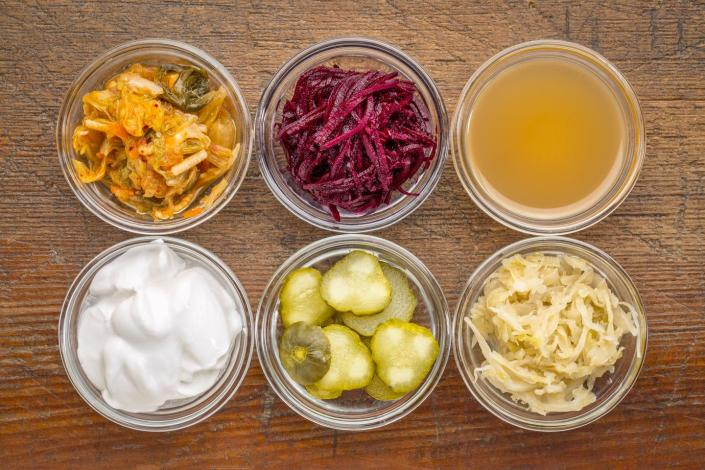 """<span class=""""caption"""">Fermented foods like kimchi, red beets, apple cider vinegar, coconut milk yogurt, cucumber pickles and sauerkraut can help provide beneficial bacteria.</span> <span class=""""attribution""""><a class=""""link rapid-noclick-resp"""" href=""""https://www.gettyimages.com/detail/photo/fermented-food-sampler-royalty-free-image/899304124?adppopup=true"""" rel=""""nofollow noopener"""" target=""""_blank"""" data-ylk=""""slk:marekuliasz/iStock/Getty Images Plus"""">marekuliasz/iStock/Getty Images Plus</a></span>"""