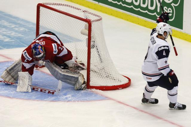 Will Butcher (R) of the U.S. scores on Czech Republic's goalie Daniel Dolejs during the first period of their IIHF World Junior Championship ice hockey game in Malmo, Sweden, December 26, 2013. REUTERS/Alexander Demianchuk (SWEDEN - Tags: SPORT ICE HOCKEY)