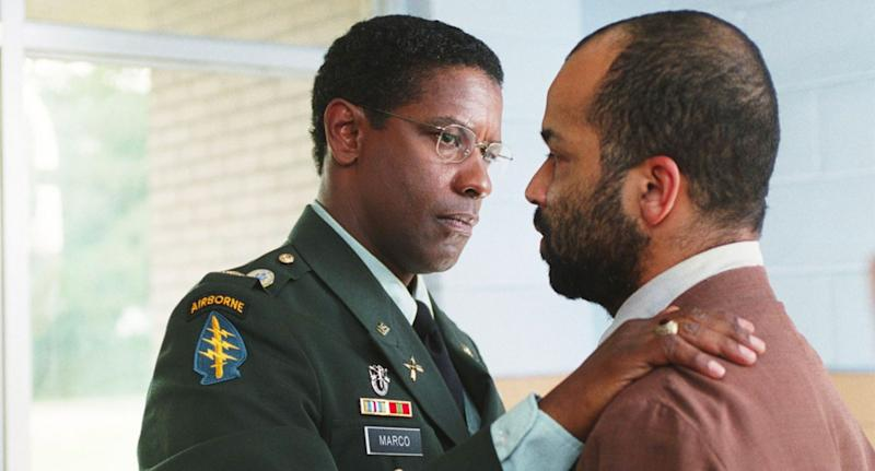 Denzel Washington and Jeffrey Wright in the 2004 remake of The Manchurian Candidate. (Paramount)