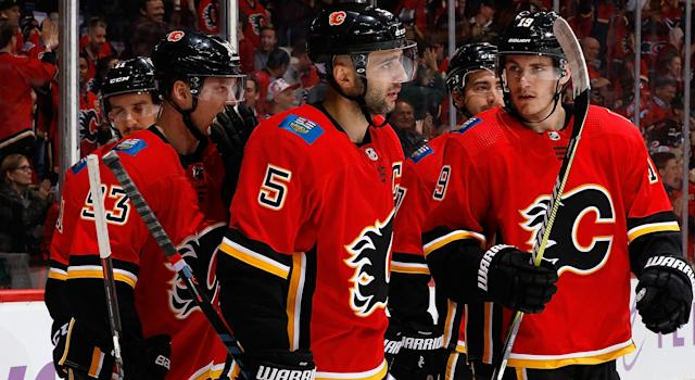 Mark Giordano has continued to prove he's among the NHL's elite blueliners at both ends of the rink this season. (Getty)