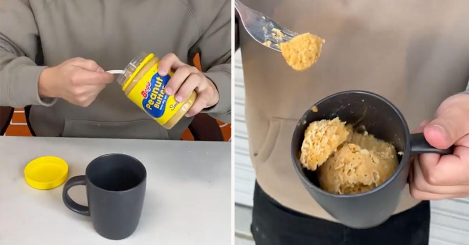 A Sydney baker has gone viral with a three-ingredient mug cake that takes just one minute to cook that he says is 'perfect' for lockdown. Photo:  Instagram/Cake Mail