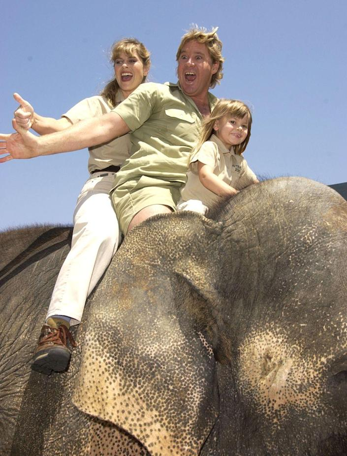 <p>Well ... not so unusual for the Irwin family, just for the rest of us. In 2002, the four-year-old daughter of Australian wildlife conservationist and TV personality, Steve Irwin, arrived at an event on the back of an elephant. </p>