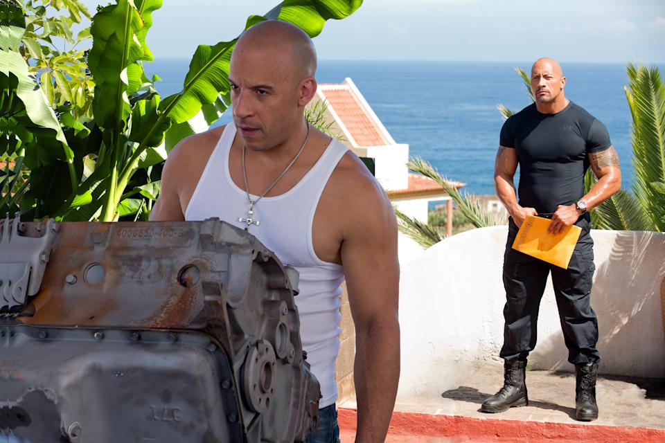 Diesel and Johnson in 'Fast & Furious 6' (Photo: Giles Keyte/©Universal Pictures/Courtesy Everett Collection)