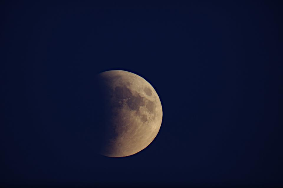 John Thomas of Great Falls, Montana, took this photo of the Sept. 27, 2015 lunar eclipse.