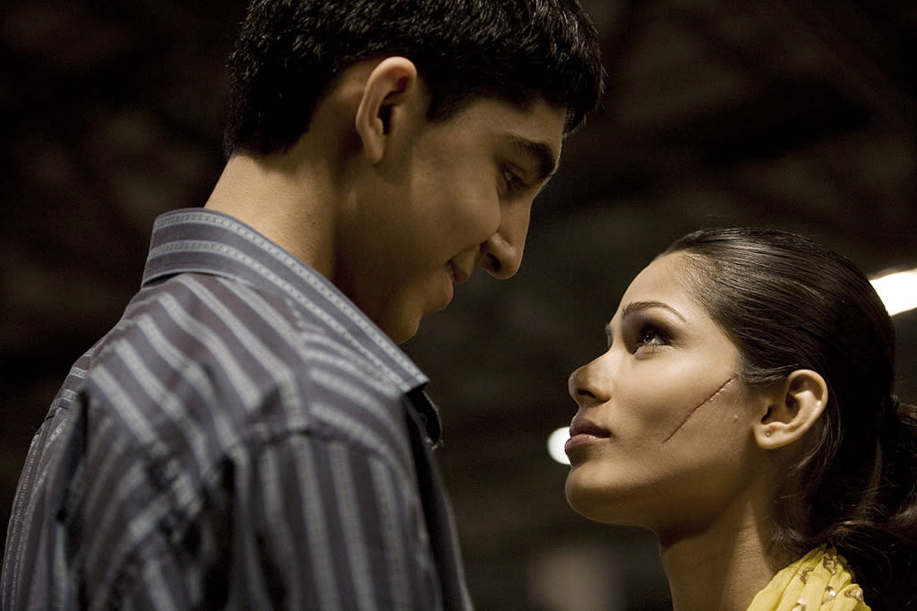 """<a href=""""http://movies.yahoo.com/movie/contributor/1810042384"""">DEV PATEL</a> & <a href=""""http://movies.yahoo.com/movie/contributor/1810042390"""">FREIDA PINTO</a>  MOVIE: <a href=""""http://movies.yahoo.com/movie/1809956055/info"""">Slumdog Millionaire</a> (2008)   All of that passion and longing seen in the Oscar-winning """"Slumdog Millionaire"""" wasn't just good acting. Soon after the movie premiered, the on-screen couple confirmed that they were in fact an off-screen couple too; making Dev Patel even luckier than the guy he played in the movie."""