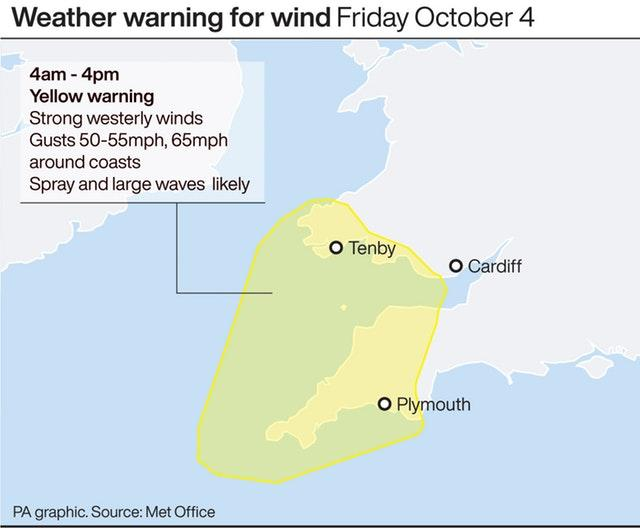 Weather warning for wind Friday October 4