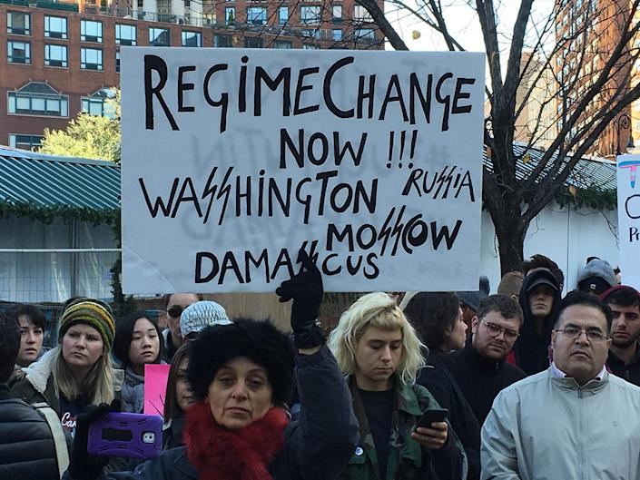 <p>Thousands of protesters converge on Union Square in New York City to protest against President-elect Donald Trump, Saturday, Nov. 12, 2016, in New York. (Stephen Trupp/starmaxinc.com/AP) </p>