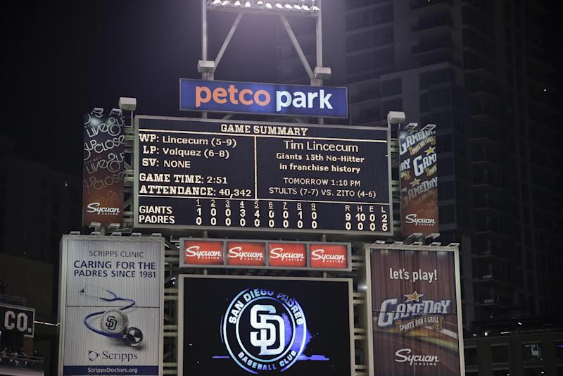 The scoreboard at Petco Park tells the final story of the no hit performance by San Francisco Giants starting pitcher Tim Lincecum against the San Diego Padres in a baseball game in San Diego, Saturday, July 13, 2013. (AP Photo/Lenny Ignelzi)