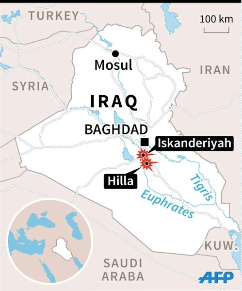 Map of Iraq locating attacks on Sunni mosques in the Hilla region and in Iskanderiyah. 45 x 54 mm (AFP Photo/Jean-Michel Cornu)