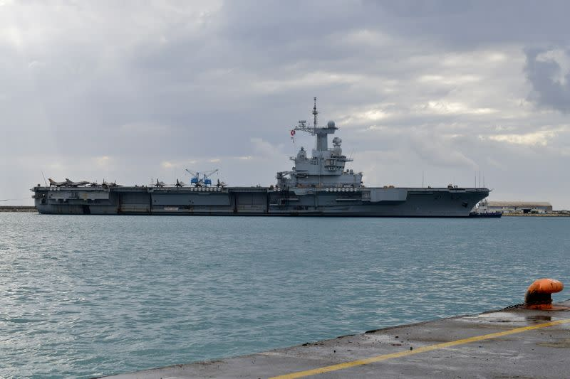 FILE PHOTO: French Navy aircraft carrier Charles de Gaulle is moored at the port of Limassol