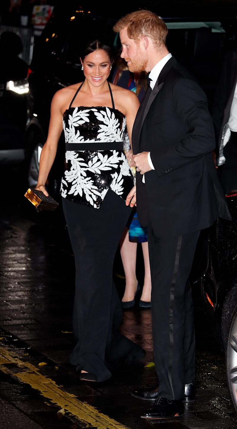 The Duke and Duchess of Sussex attend the Royal Variety Performance at the London Palladium on Monday in London. (Max Mumby/Indigo via Getty Images)