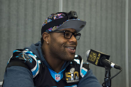 February 4, 2016; San Jose, CA, USA; Carolina Panthers guard Trai Turner (70) addresses the media in a press conference prior to Super Bowl 50 at San Jose Convention Center. Mandatory Credit: Kyle Terada-USA TODAY Sports / Reuters Picture Supplied by Action Images