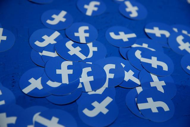Paper circles with the Facebook logo are displayed during the F8 Facebook Developers conference. Photo: Justin Sullivan/Getty Images