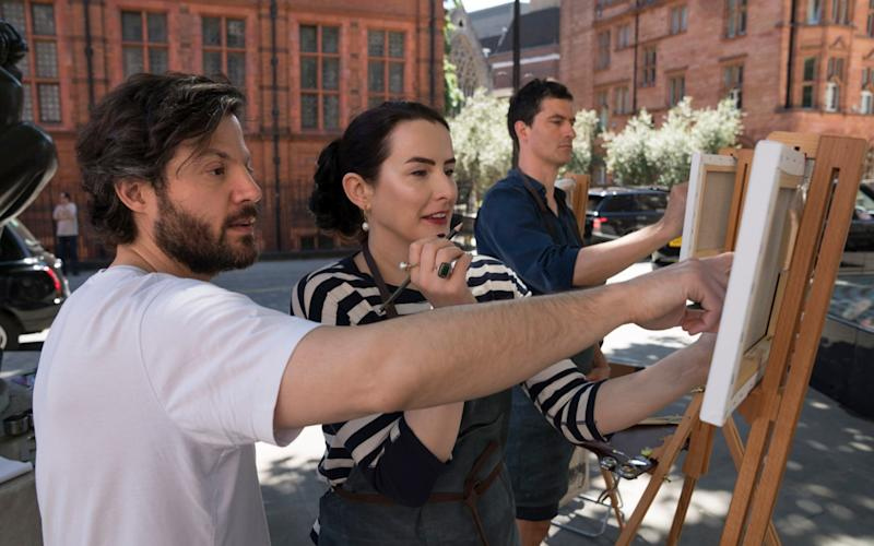 Hannah and her man Terence, having a lesson with artist Alex Folwer - Andrew Crowley