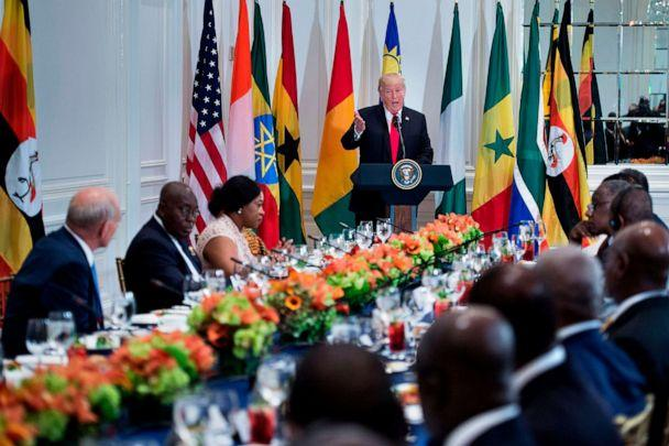 PHOTO: President Donald Trump speaks before a luncheon with US and African leaders at the Palace Hotel during the 72nd United Nations General Assembly, Sept. 20, 2017, in New York. (Brendan Smialowski/AFP/Getty Images)