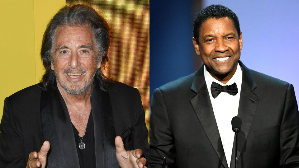 Al Pacino and Denzel Washington were both considered for lead roles in 'Seven'. (Credit: Jon Kopaloff/FilmMagic/Kevin Winter/Getty Images for WarnerMedia)
