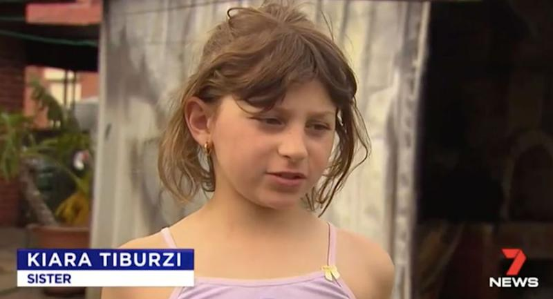 Kiara said her big brother woke them up and told them to get out of the house. Source: 7 News