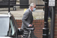 Britain's Prince Charles arrives at the King Edward VII's hospital in London, Saturday Feb. 20, 2021, to visit his father Prince Philip. Buckingham Palace said the husband of Queen Elizabeth II, 99-year-old Prince Philip was admitted to the private King Edward VII Hospital on Tuesday evening after feeling unwell. (Dominic Lipinski/PA via AP)