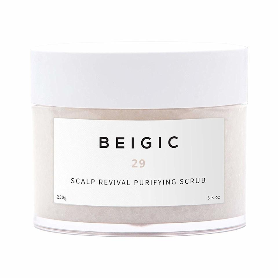 """<p>Beigic, a favorite brand of <em>Allure</em> Korea's editors, only became available in the U.S. just <a href=""""https://www.allure.com/gallery/new-k-beauty-products-august-2019-launches?mbid=synd_yahoo_rss"""">a few months ago</a>, and even more recently, the brand has <a href=""""https://www.anthropologie.com/shop/beigic-scalp-revival-purifying-scrub"""" rel=""""nofollow"""">made its way to Anthropologie</a> and Amazon. That includes this refreshing scalp scrub, which exfoliates with anti-inflammatory sea salt while balancing oil at your roots with a touch of cooling menthol.</p> <p><strong>$38</strong> (<a href=""""https://www.amazon.com/BEIGIC-Scalp-Revival-Purifying-Scrub/dp/B07S4BLP44/ref=sr_1_3"""" rel=""""nofollow"""">Shop Now</a>)</p>"""