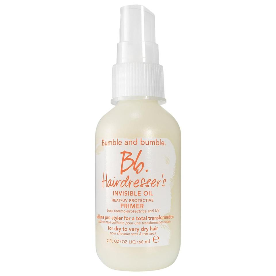 """<p>The sun protection inside this <a href=""""https://www.popsugar.com/buy/Bumble-bumble-Hairdresser-Invisible-Oil-Heat-UV-Protective-Primer-578804?p_name=Bumble%20and%20bumble%20Hairdresser%27s%20Invisible%20Oil%20Heat%20and%20UV%20Protective%20Primer&retailer=sephora.com&pid=578804&price=13&evar1=bella%3Aus&evar9=47520410&evar98=https%3A%2F%2Fwww.popsugar.com%2Fbeauty%2Fphoto-gallery%2F47520410%2Fimage%2F47520416%2FBumble-bumble-Hairdressers-Invisible-Oil-Heat-UV-Protective-Primer&list1=hair%2Csephora%2Cshampoo%2Cconditioner%2Cbeauty%20shopping%2Cstaying%20home&prop13=mobile&pdata=1"""" class=""""link rapid-noclick-resp"""" rel=""""nofollow noopener"""" target=""""_blank"""" data-ylk=""""slk:Bumble and bumble Hairdresser's Invisible Oil Heat and UV Protective Primer"""">Bumble and bumble Hairdresser's Invisible Oil Heat and UV Protective Primer</a> ($13-$28) can prove extra helpful when the weather heats up, but the detangling leave-in treatment still protects dry, brittle hair from hot tools year-round. </p>"""