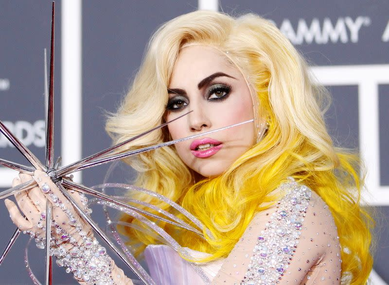 FILE PHOTO: Lady Gaga poses on the red carpet at the 52nd annual Grammy Awards in Los Angeles