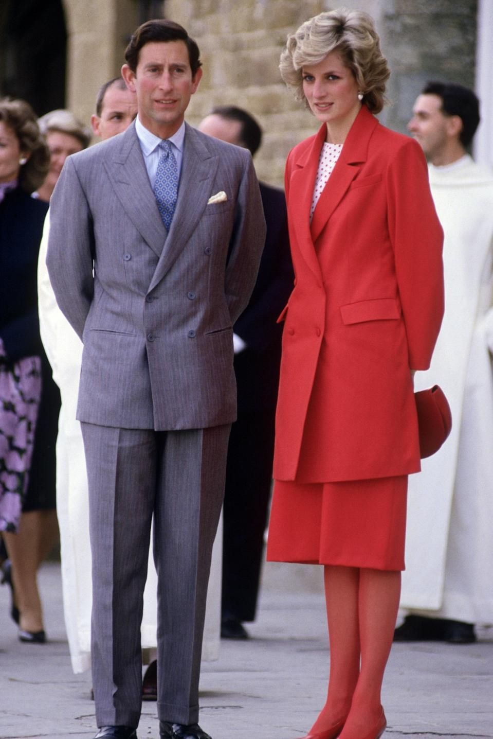 Prince Charles and Princess Diana at a church in Florence, April 23, 1985.