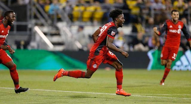 "<a class=""link rapid-noclick-resp"" href=""/soccer/teams/toronto-fc/"" data-ylk=""slk:Toronto FC"">Toronto FC</a> has shown strength in depth and character during its six-game winning streak. (AP/Jay LaPrete)"