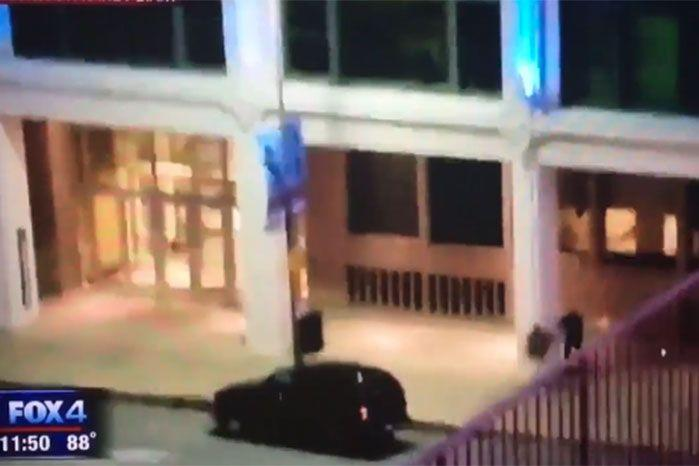The moment a police officer was involved in a fatal stand off with a gunman following the Dallas protests.